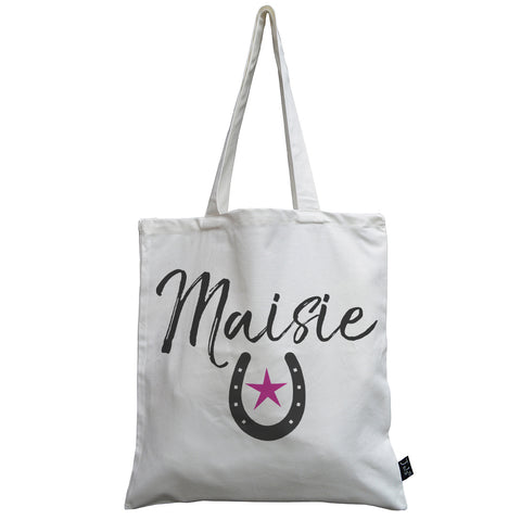 Personalised Horseshoe pink star canvas bag