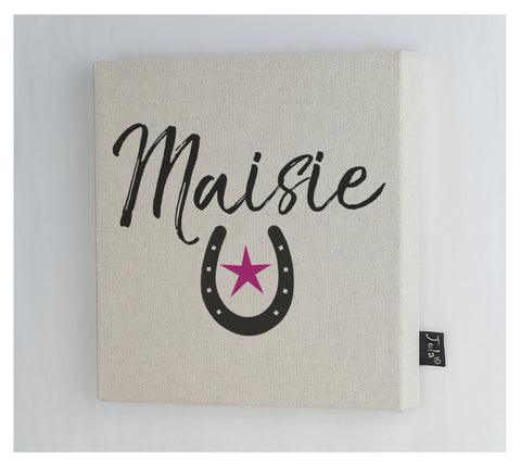 Personalised Horseshoe pink star canvas frame