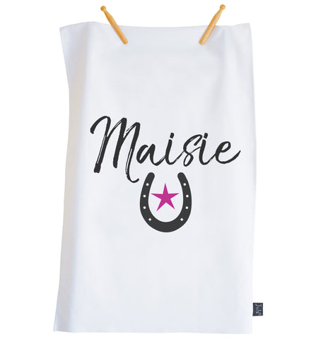 Personalised Horseshoe pink star tea towel