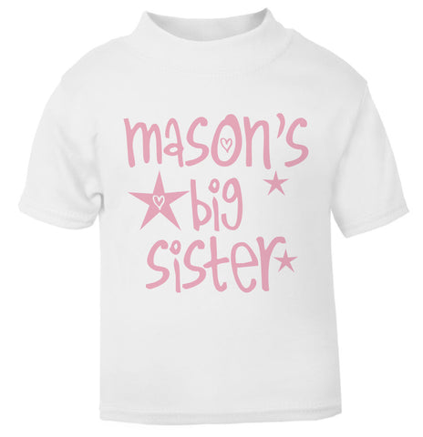 Personalised Big Sister Star T Shirt pink