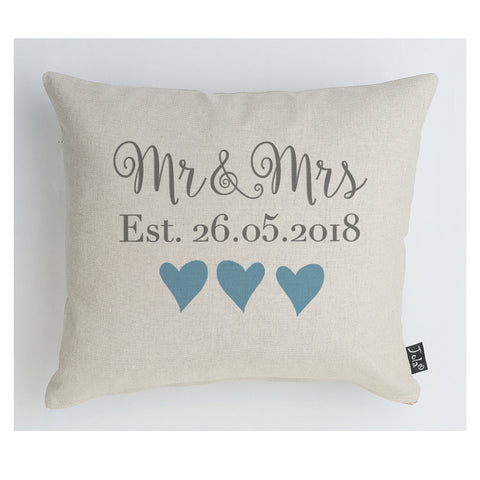 Personalised Wedding Mr & Mrs Est cushion Blue