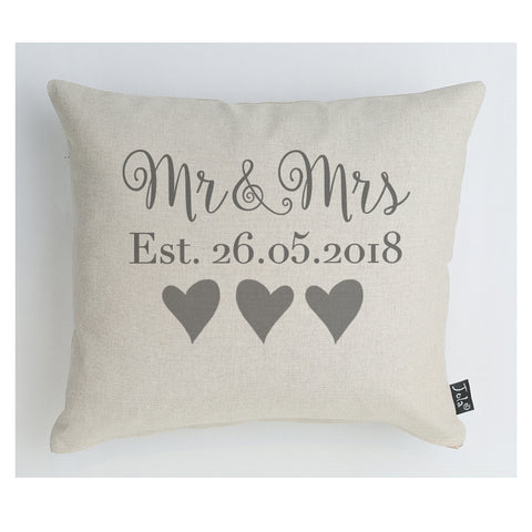 Personalised Wedding Mr & Mrs Est cushion Grey