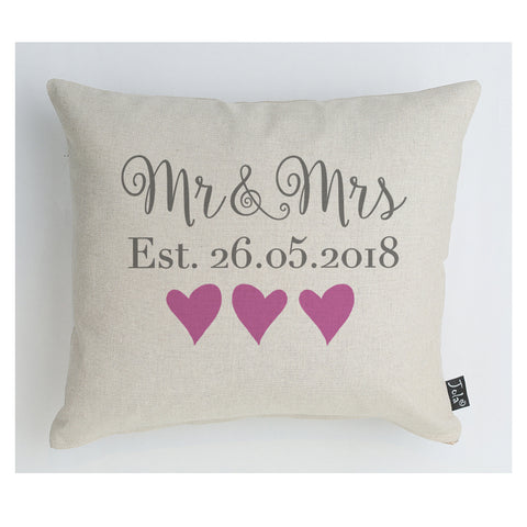 Personalised Wedding Mr & Mrs Est cushion Pink
