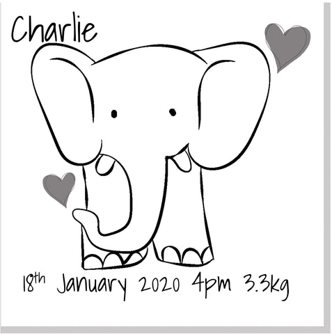 Personalised Elephant Baby card