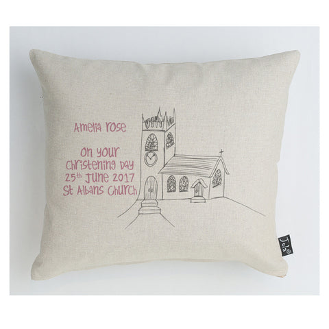 Personalised Christening Church Cushion