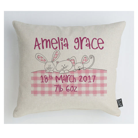Personalised Gingham Bunnies Baby cushion