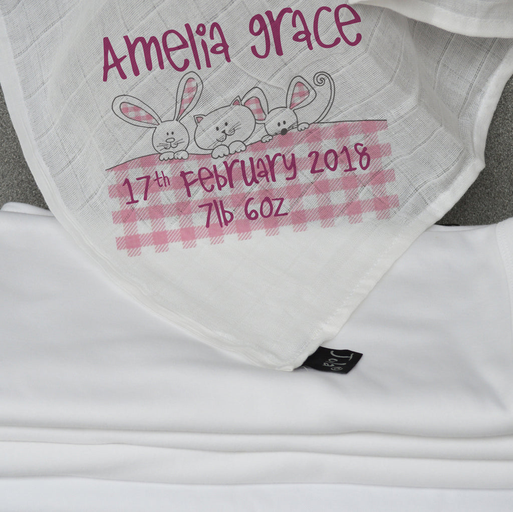 Personalised Gingham Baby Muslin Square