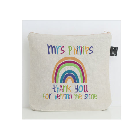 Personalised Rainbow thank you washbag