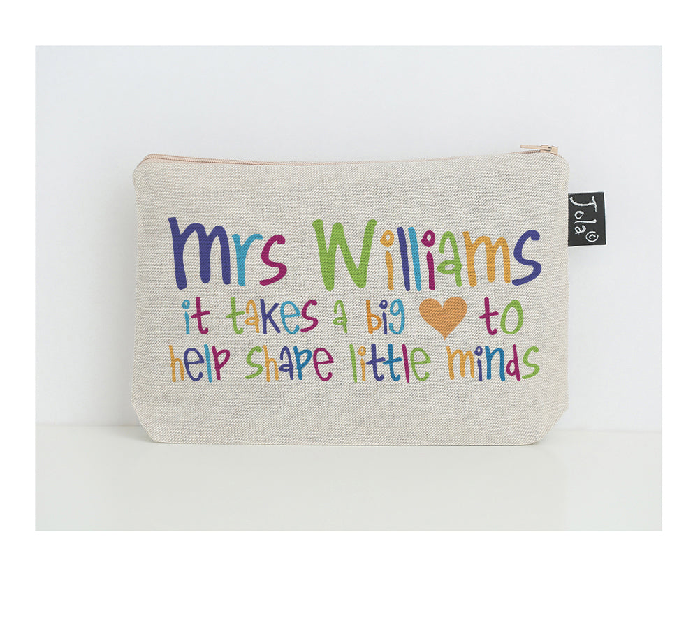 Personalised Teacher big heart multi small make up bag