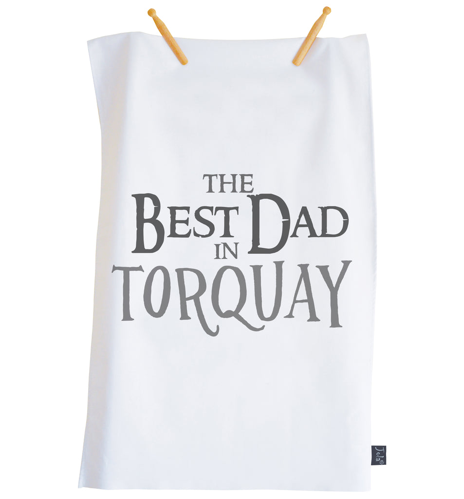 Personalised Best Dad City Tea Towel