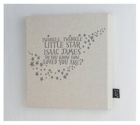 Personalised Twinkle Baby canvas frame