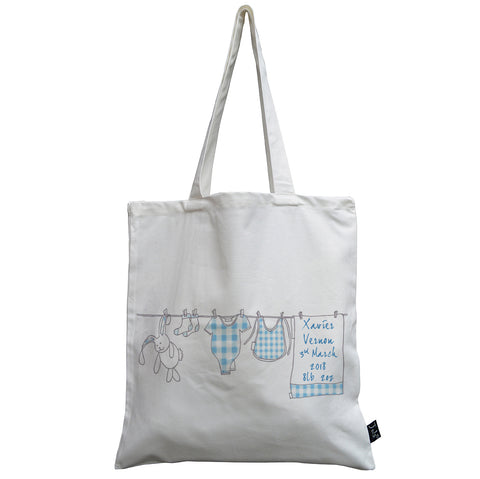 Personalised Washing Line Baby canvas bag