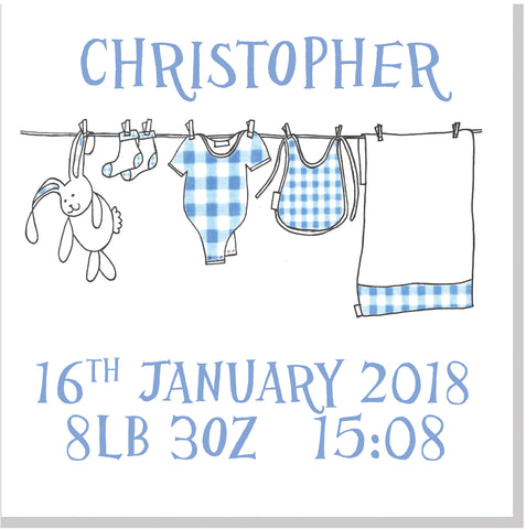 Personalised Washing Line Baby card