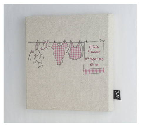 Personalised Baby Washing line canvas frame