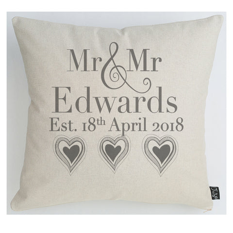 Personalised Wedding 3 Hearts grey sparkle cushion