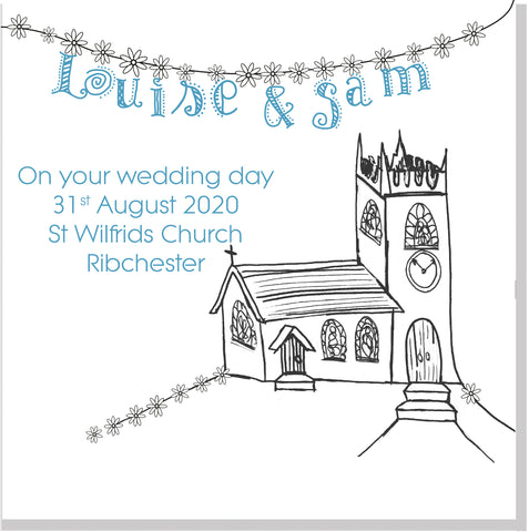 Personalised church Wedding square card