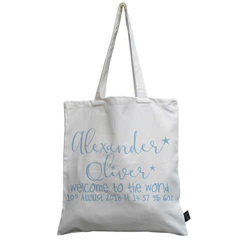 Personalised welcome to the world canvas bag