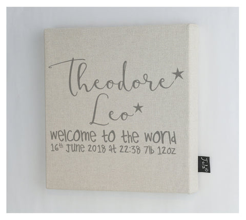 Personalised welcome to the world Baby canvas frame