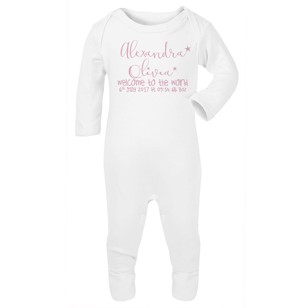 Personalised welcome to the world Babygrow