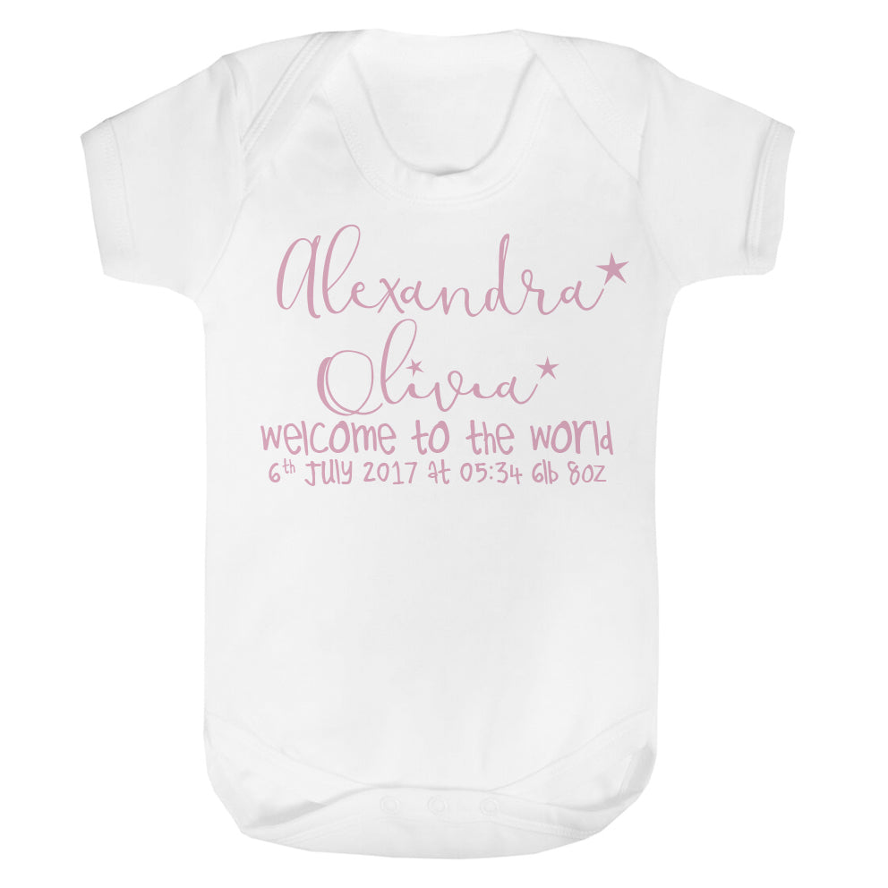 Personalised Welcome to the world baby vest