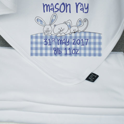 Gingham Bunnies blue personalised blanket