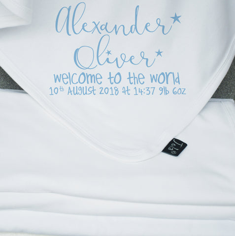 Welcome to the world personalised blanket
