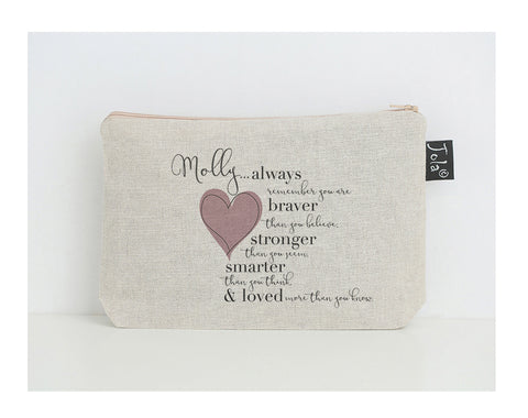 Personalised Braver small make up bag