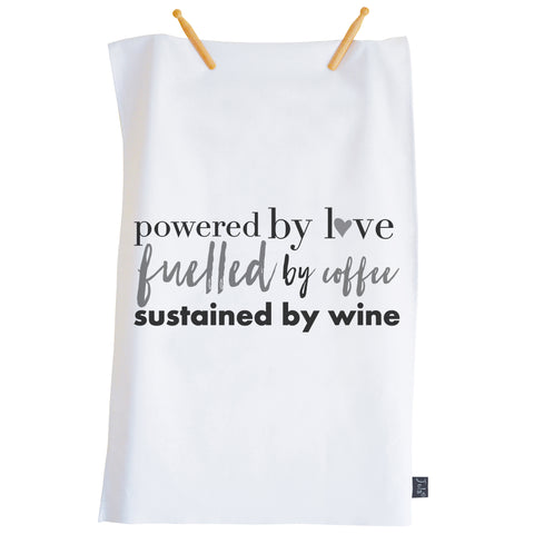 Powered by Love Tea towel