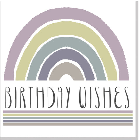 Birthday wishes Rainbow stripe square card