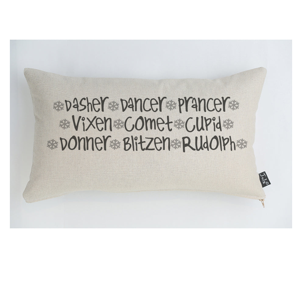 Reindeer names large boudoir cushion