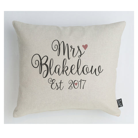 Personalised Foxwells Mrs cushion