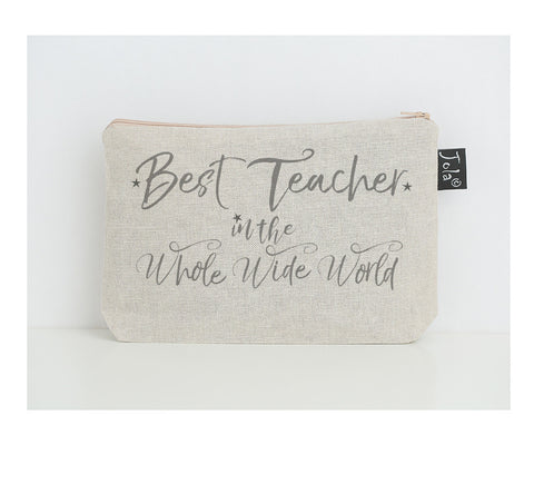 Best teacher in the whole wide world small make up bag