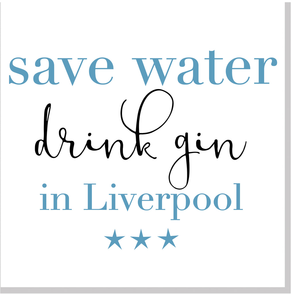 Personalised Save water Drink Gin City square card