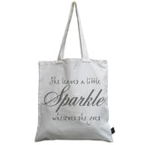 She leaves sparkle canvas bag
