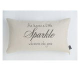 She leaves sparkle cushion grey