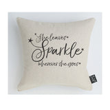 She leaves sparkle stars cushion