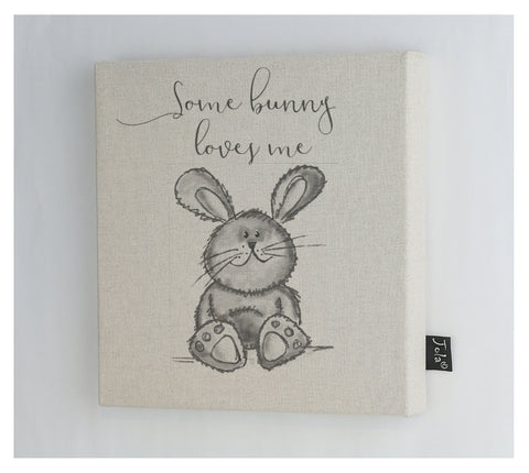 Some Bunny Loves me grey canvas frame