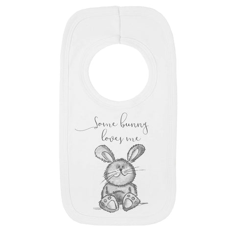 Some Bunny Loves me grey bib