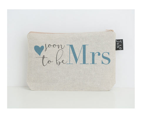 Soon to be Mrs small make up bag blue heart