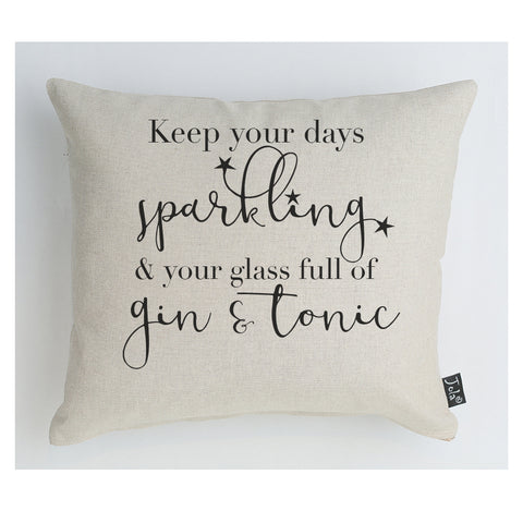 Sparkling Gin & Tonic stars cushion