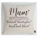 Mum hearts forever large cushion