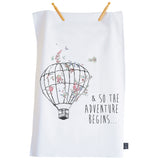 So the adventure begins Balloon Floral tea towel