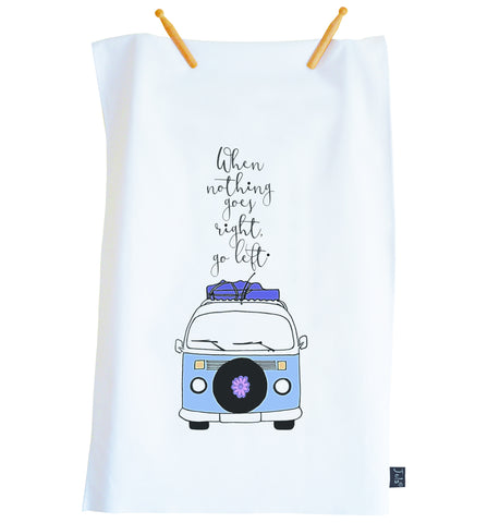 Tea Towel Camper van Go left blue