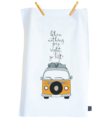 Tea Towel Camper van Go left orange