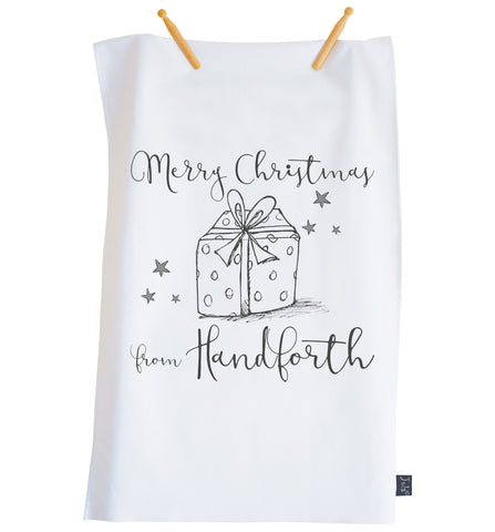 Personalised City Christmas Present Tea Towel