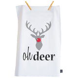 Oh Deer Christmas tea towel