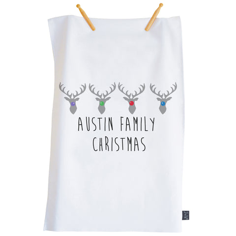 Personalised Family Christmas Reindeer Tea Towel