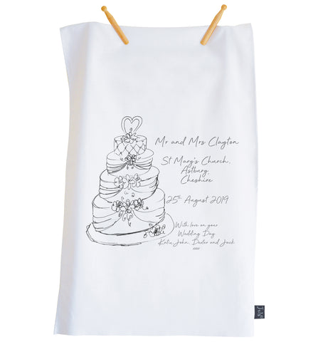 Wedding Cake Personalised tea towel