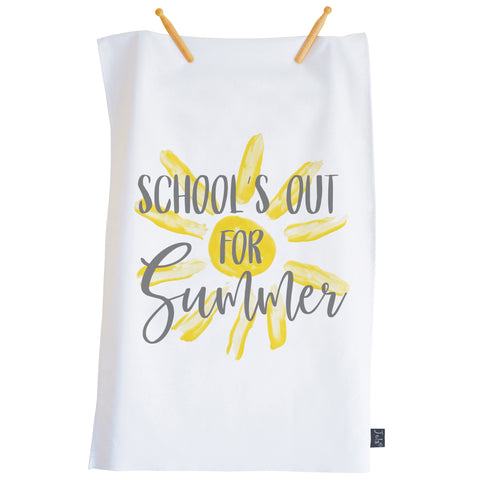 Schools out for summer tea towel