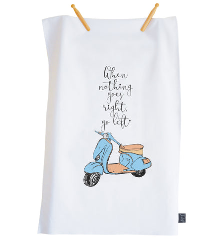 Tea Towel Scooter Go left